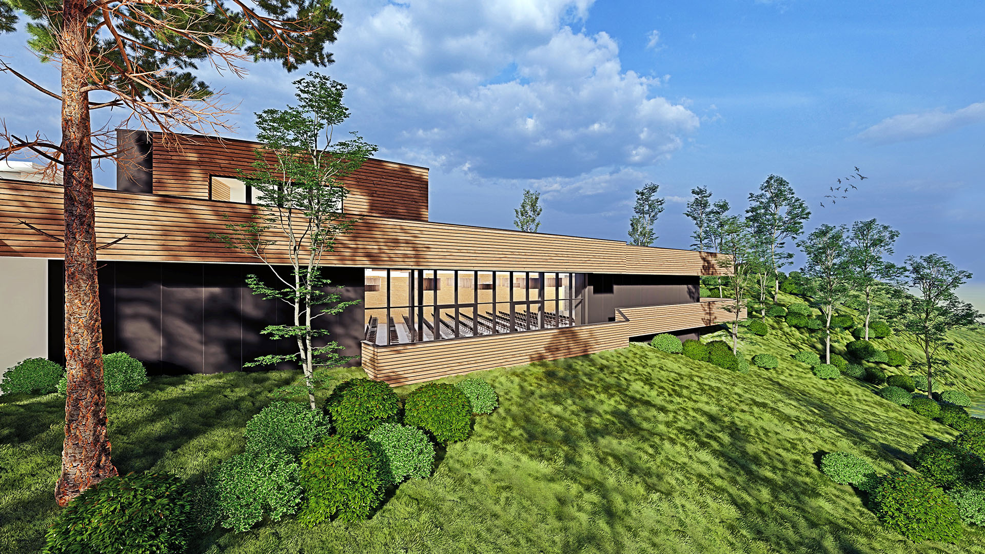 Hirschegg-Pack, Mehrzweckhalle, Veranstaltungshalle, 01, Ansicht von außen (Gegenhang) auf den Saal und Parkdeck mit Landschaft